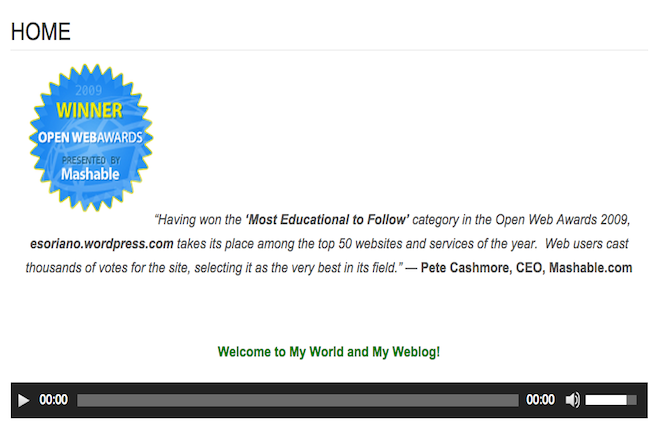 Bro. Eliseo Soriano wins Most Educational to Follow Award during Mashable's Open Web awards in 2009.