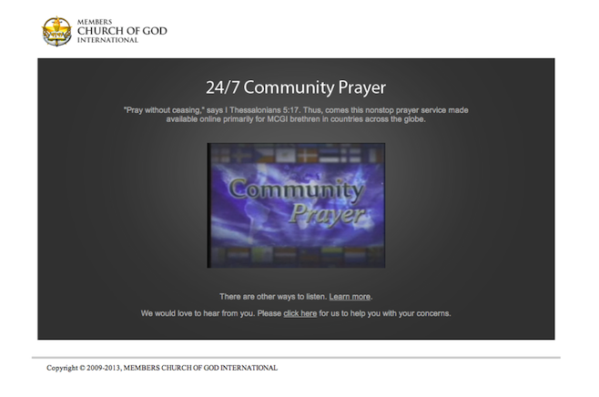 MCGI.org gives access to all across the globe to an hourly prayer and singing of praises to God via its Community Prayer portal.