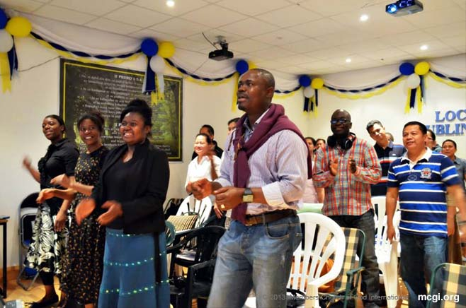Joining congregants across the world, members of the Church of God International from Dublin, Ireland give thanks to God from July 5-7, 2013.