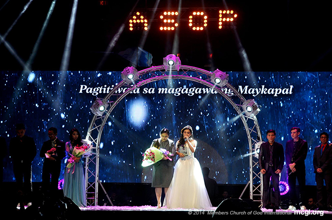 "Composer Louise Lyle Robles with  Interpreter Beverly Caimen singing the Song of the Year for ASOP's Grand Finals Year 3: ""May Awa ang Dios.""  (Photo courtesy of PVI)"