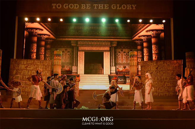 The set of Joseph, the musical play by the youth music ministry members of the Rizal Division of MCGI.