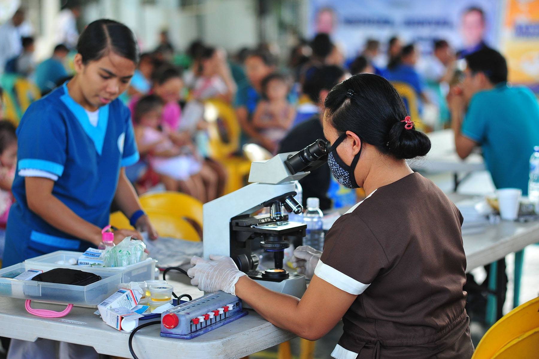 MCGI regularly holds medical missions in different parts of the country and makes use of laboratory equipment to quickly and accurately get results to patients for free, such as in this medical mission held in Paranaque City last July. (MCGI/PVI Jun Rapanan)