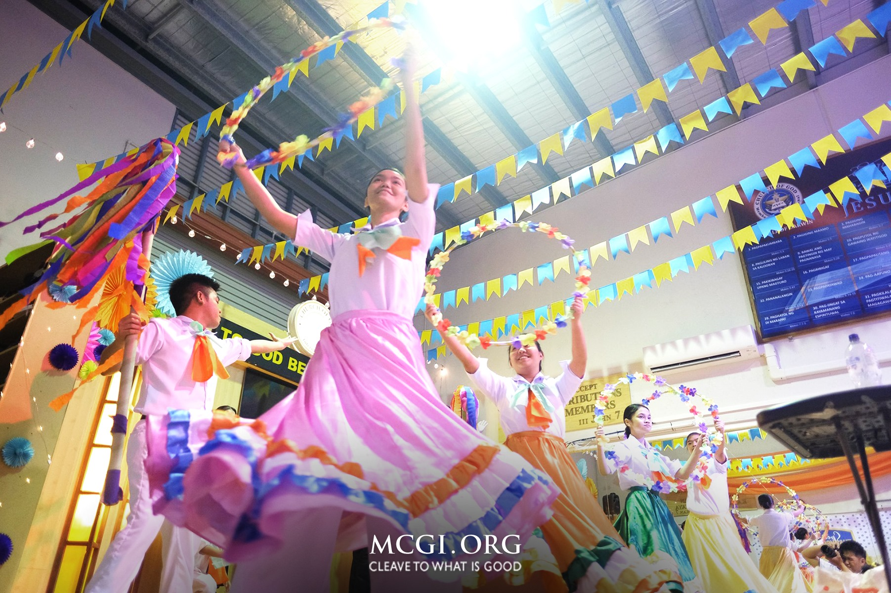 The opening presentations of MCGI's Teatro Kristiano and Music Ministry Choir are always a sight to behold with their colorful uniforms and bright energy.