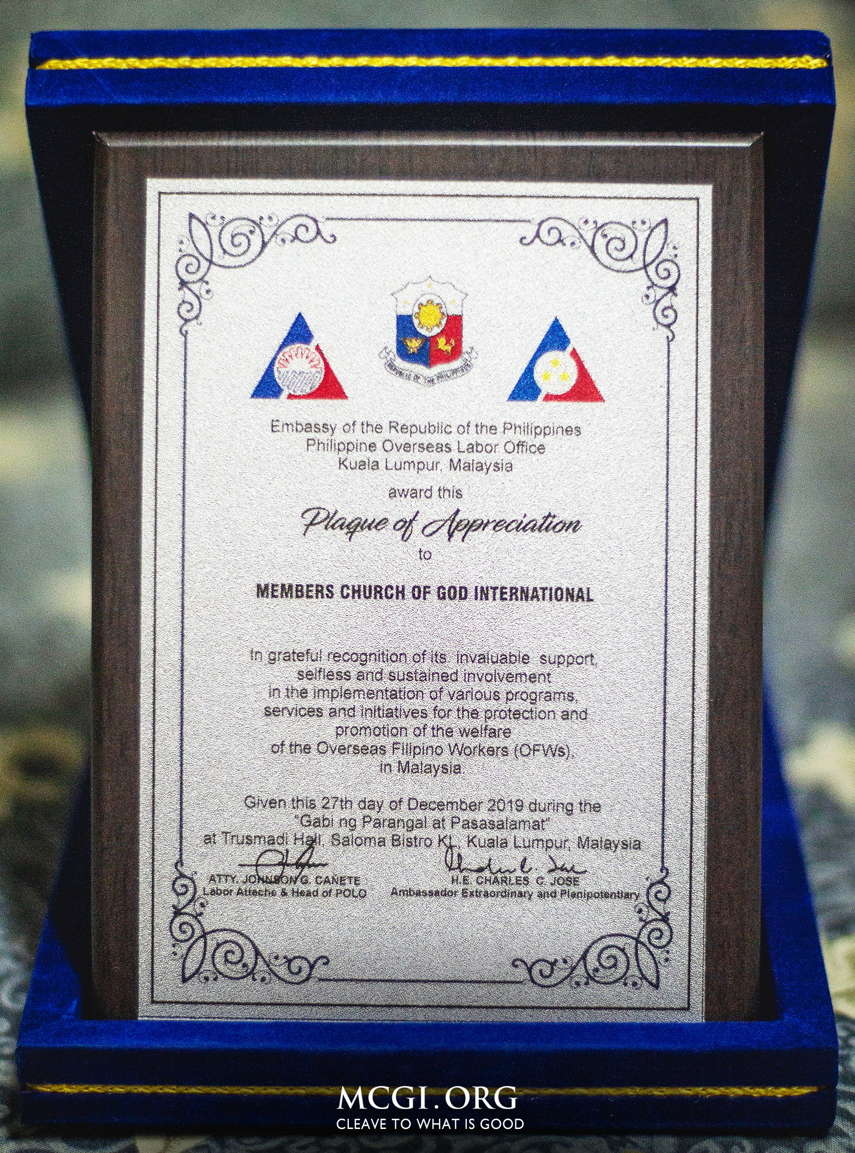 MCGI Receives Plaque of Appreciation from the Embassy of the Republic of the Philippines in Malaysia