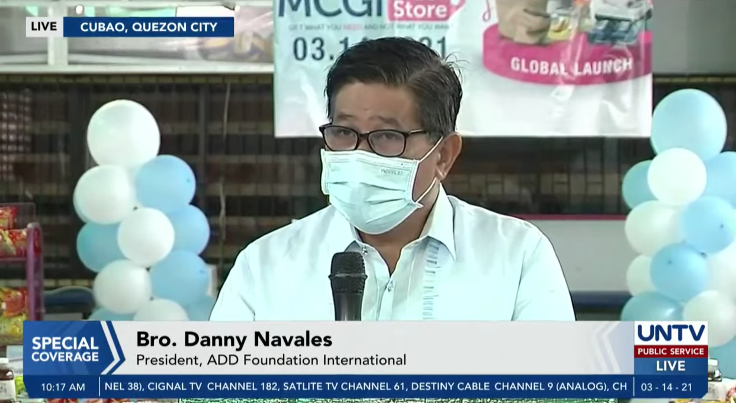 Bro. Danny Navales during the MCGI Free Store launch