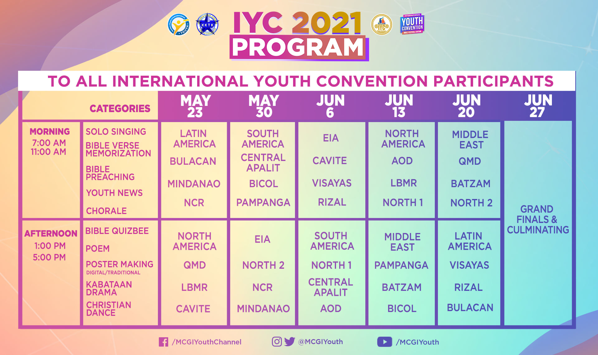 IYC Schedule